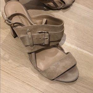 Suede Tan heels with gold buckle